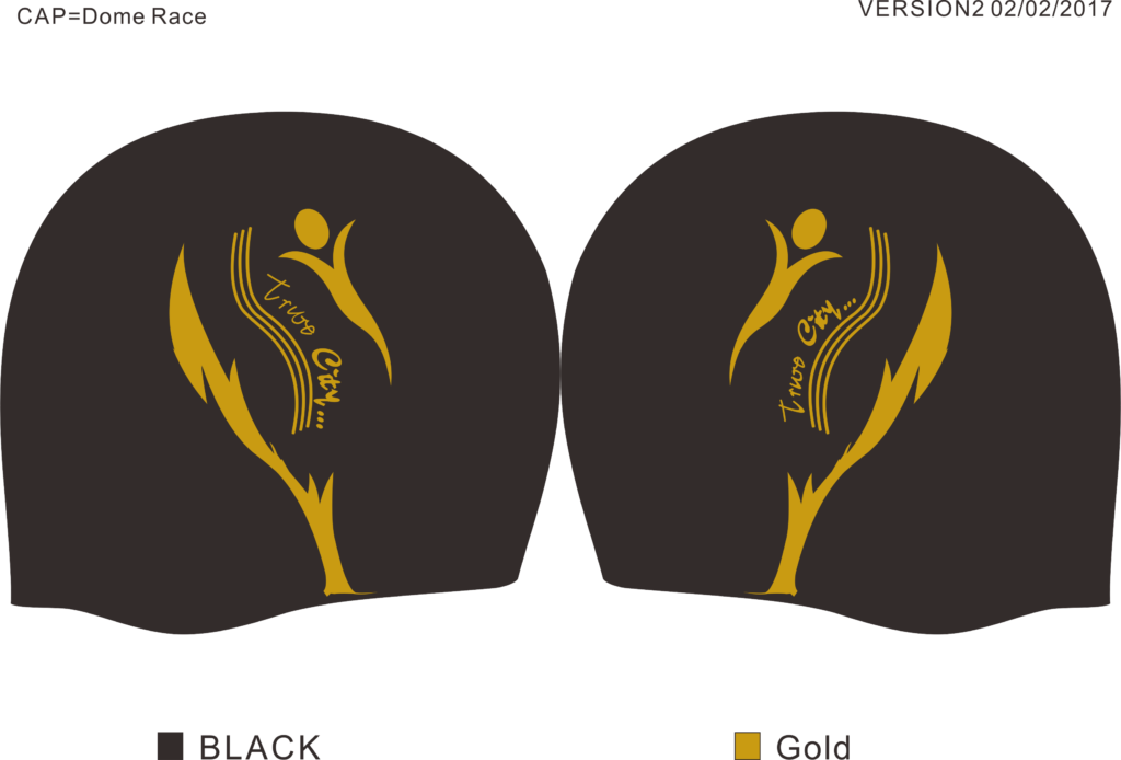 A black bullet-dome race swimming cap, with a gold logo for Truro City Swimiming Club
