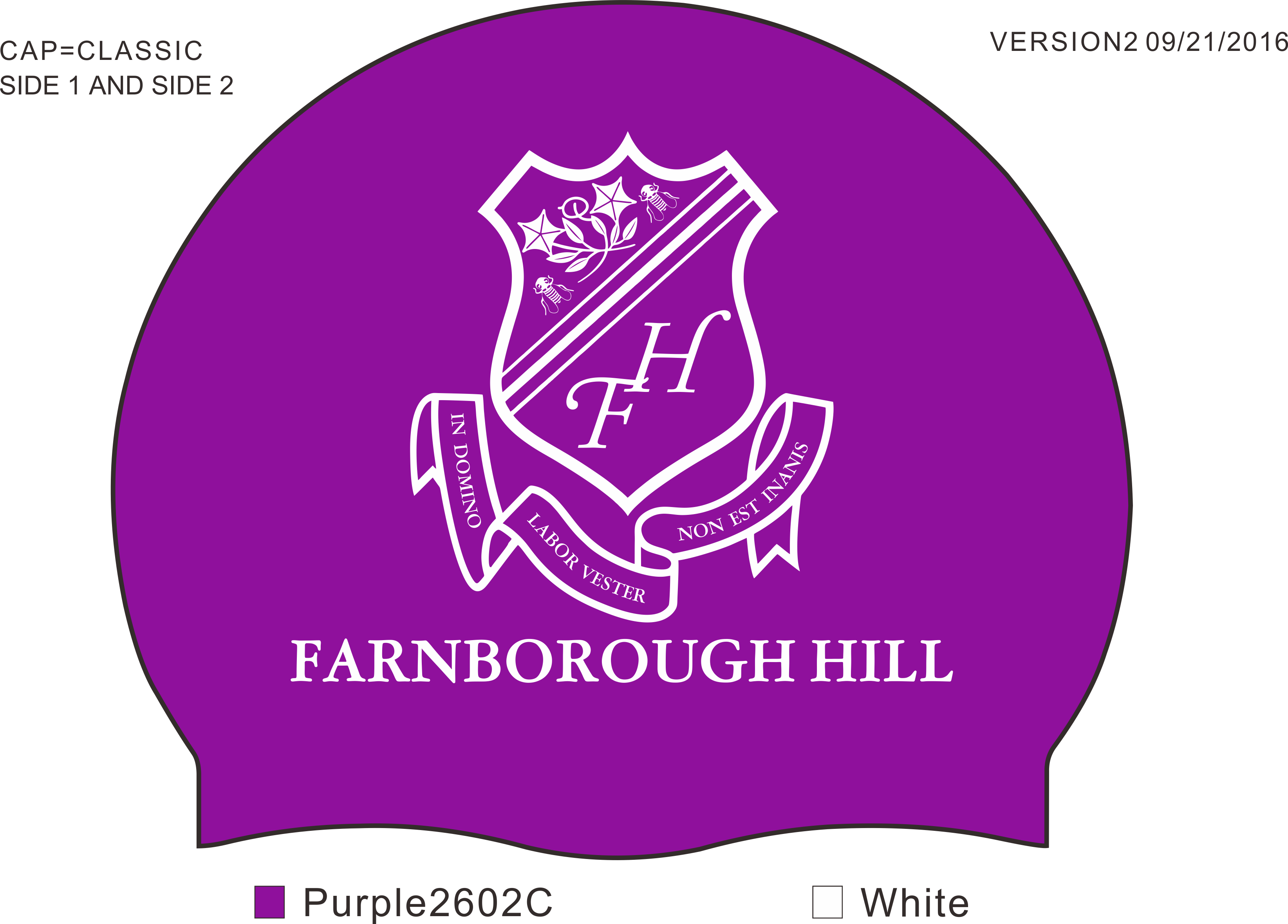 Super soft silicone swimming caps with Farnborough Hill school logo