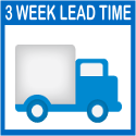 a truck depicting a 3 week lead time