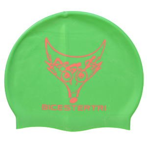 High quality silicone swimming cap, green
